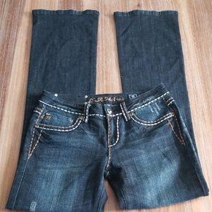 L.A Idol Size 9 Boot Cut Jeweled Denim Jean's
